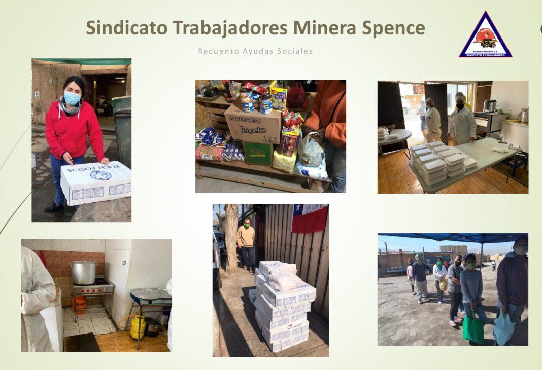 Los trabajadores del sindicato Spence han entregado distintos aportes y ayudas a organizaciones sociales del norte, centro y sur del país.